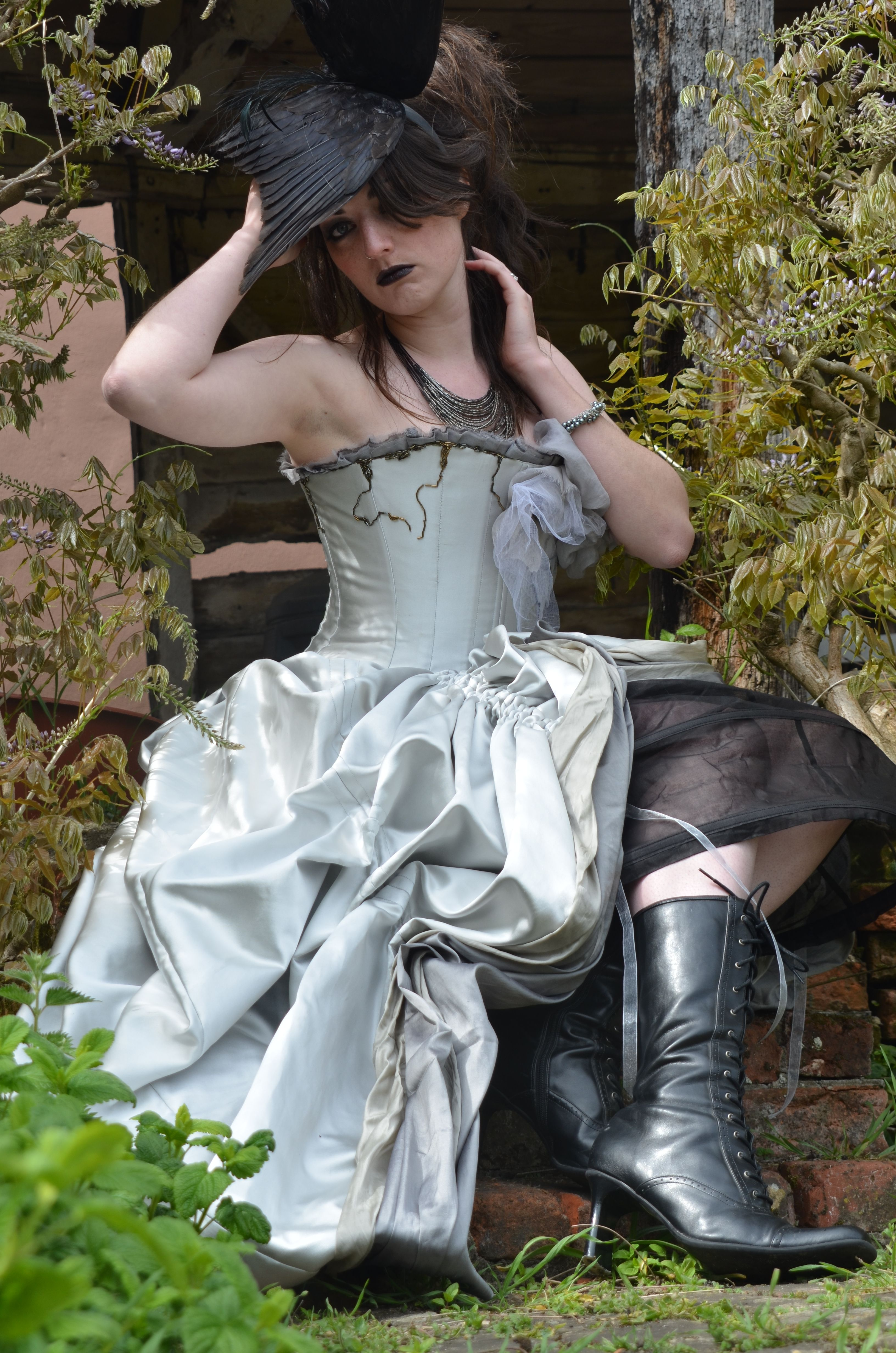 Dramatic victorian inspired gothic wedding dress in Silver