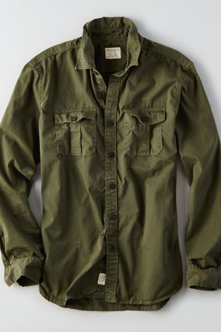 Aeo Military Button Down Shirt Olive Green Summer 2016 Green