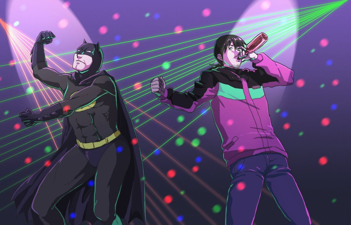 """""""Batman and 'Chinese Electric Batman' sure now how to party."""" Batman from Batman Hei from Darker Than Black"""