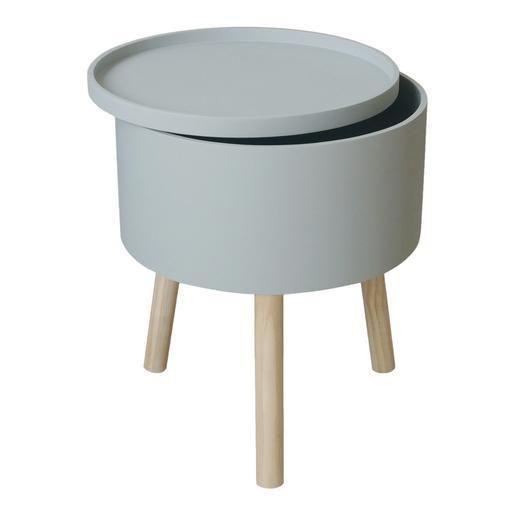 Table Ronde D Appoint Avec Rangement Bois Et Mdf O 38 X H 45 Cm Gris 33 Home Salon Home Decor Kitchen Appliances