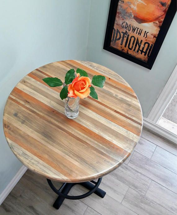 Coffee Height Round Small Table Base Round Column: Round Bar Height Pub Table With A Handmade Reclaimed Wood