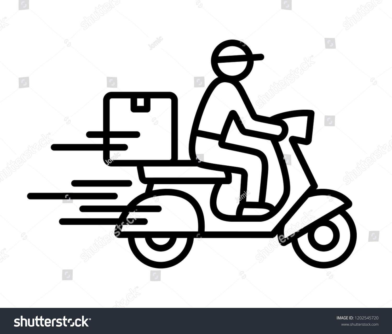 Shipping fast delivery man ridding motorcycle icon symbol