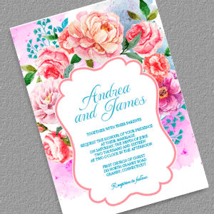 Beautitiful Floral Vintage Invitation  Color Photography