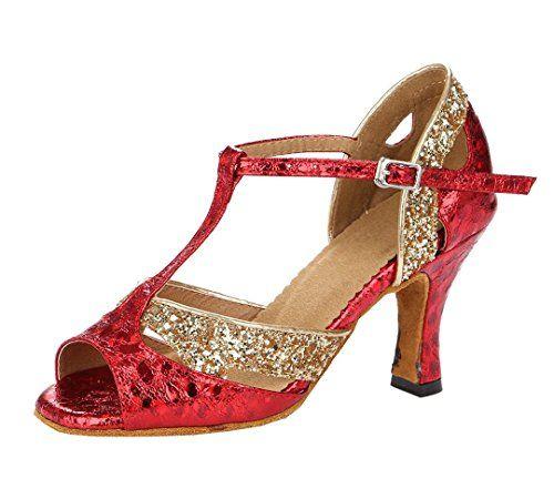 TDA Womens Peep Toe Stilettos High Heel Latin Modern Salsa Tango Ballroom Wedding Dance Shoes