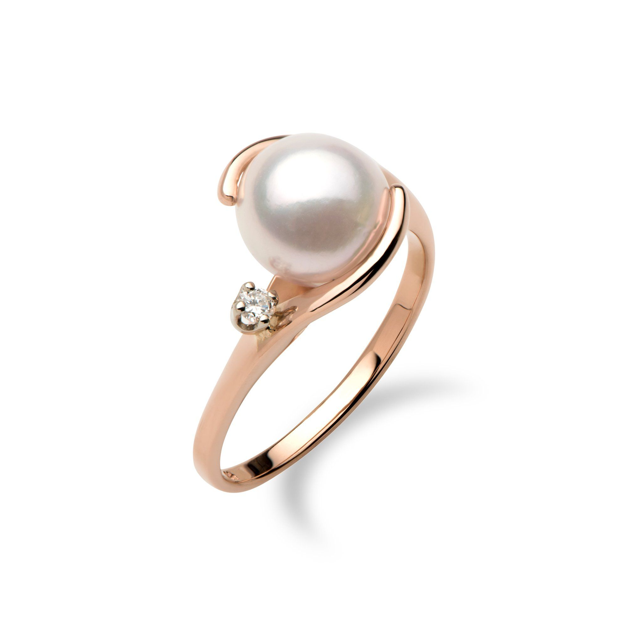 14K rose gold ring One round Akoya Pearl, 8mm One faceted round Diamond totaling 0.04 carats, total weight Ring sizes 4-9 Contact us for additional ring sizes