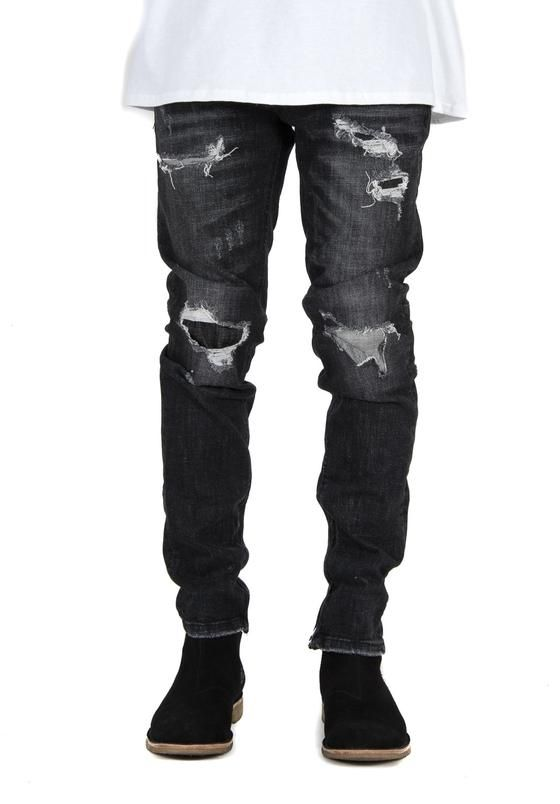 Black Grey Zipper Jeans
