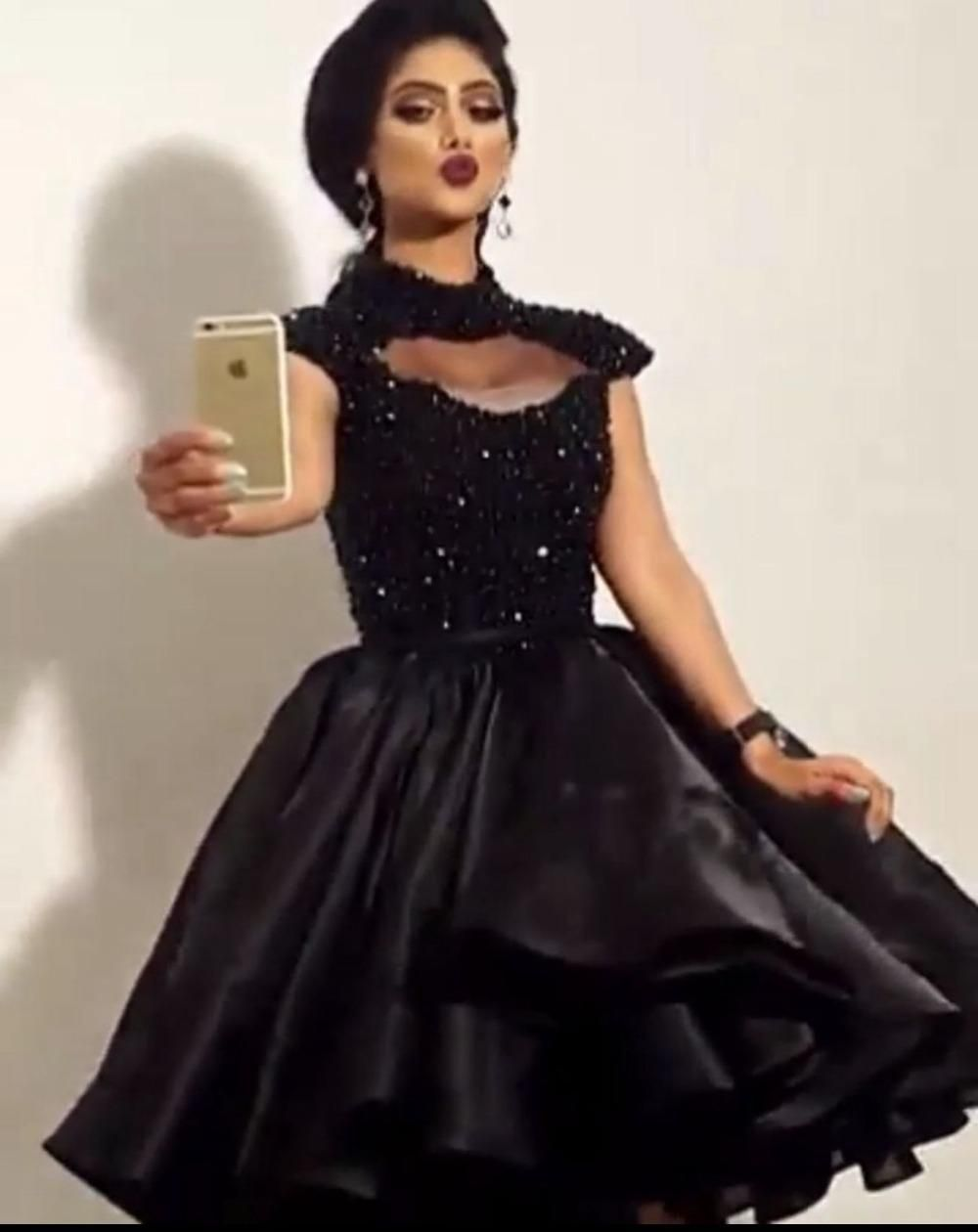f0313b105f Sheer Neck Black Short Organza Party Dress With Cap Sleeves
