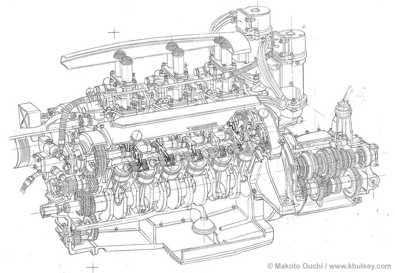 Ferrari 166mm Line Drawings By Makoto Ouchi