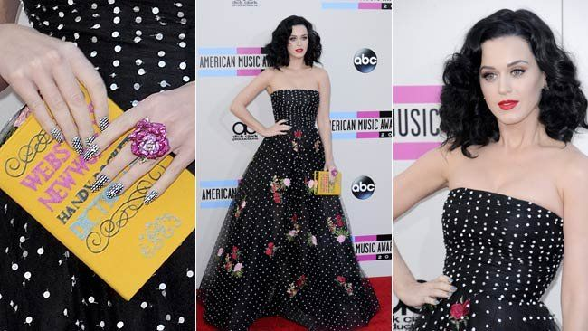 Katy Perry in a floral and polka dot strapless Oscar de la Renta gown