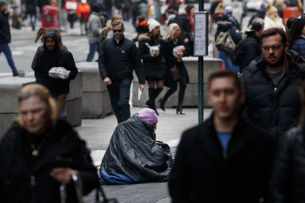 Hundreds Spend the Night in Sleeping Bags on Times Square