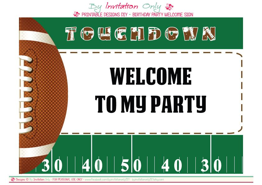 FREE Football Party Printables from By Invitation Only DIY | Free ...