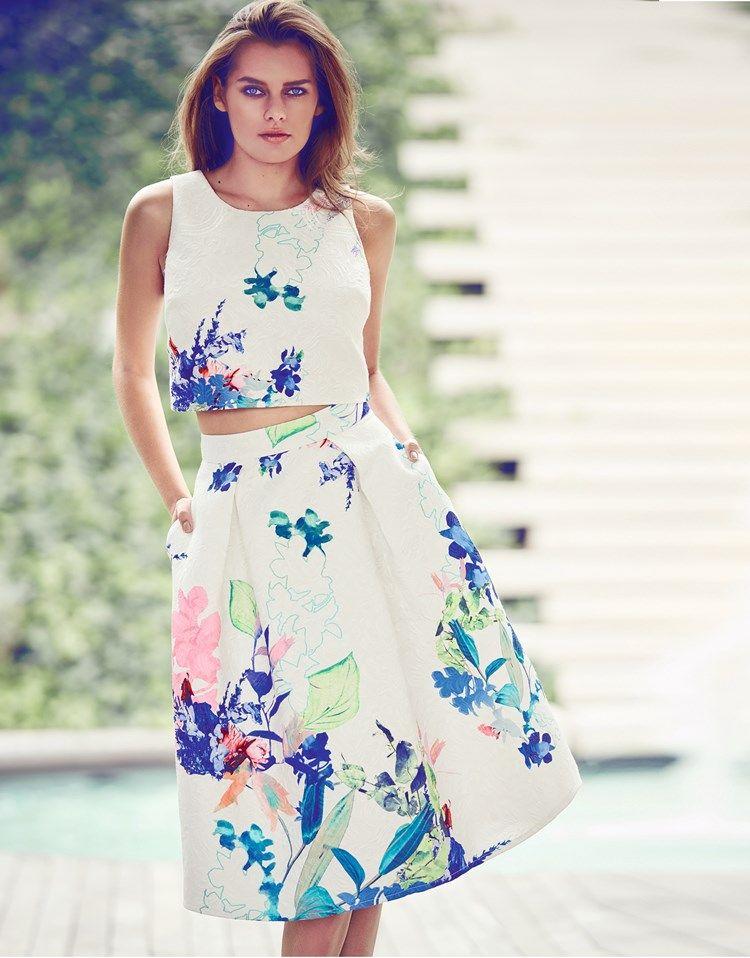 b6798ec8fab94d Lipsy Vip Floral Print Co-ord Midi Skirt | Fashion Wish List in 2019 ...