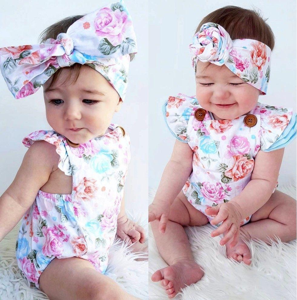 Cute Newborn Kid Girl Floral Cotton Romper Bodysuit Jumpsuit+Headband Outfit Set