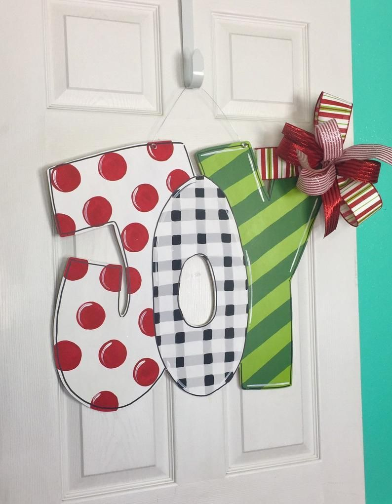 JOY Door Hanger, Christmas Door Hanger, Holiday Door Hanger, Christmas Decor, Front Door Decor, Wood Sign