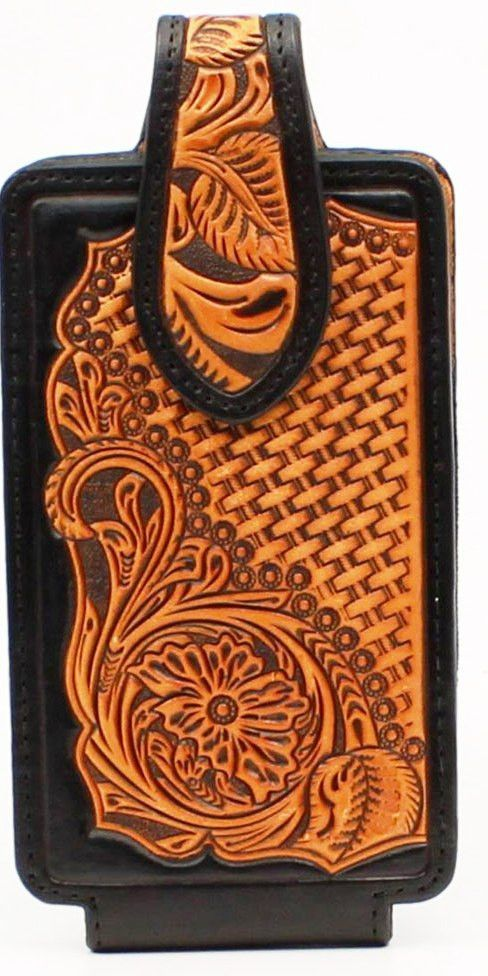in stock 7bbcd f5ad7 Western Tooled Leather Cell Phone Holder - Fits iPhone 8 Plus ...