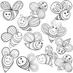 Vector Bees For Adult Coloring Page Art Illustration