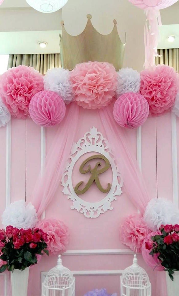 Backdrop from a pink princess baptism party via kara 39 s for Party backdrop ideas