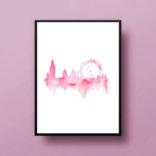 Pink london city painting map art print room decor