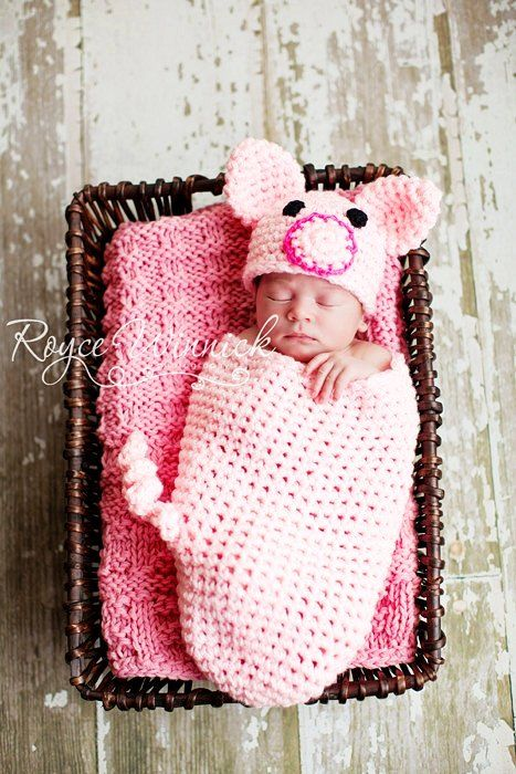 PDF Piggy Cocoon and Beanie Chunky yarn CROCHET  PATTERN No 231 photo prop sizes preemie, newborn. 0-3, 3-6 months