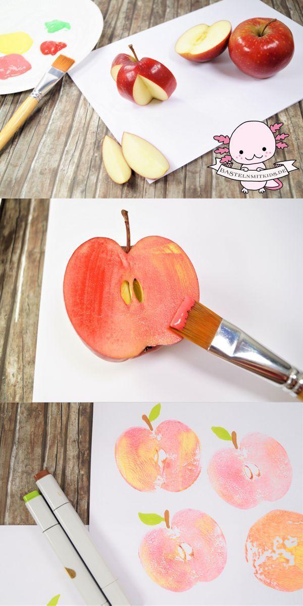 Apfel basteln mit Papierteller und Apfelkerngehäuse - Basteln mit Kindern
