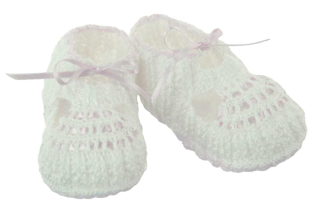 f28de7448 NEW Willbeth Delicate Cotton Knit Baby Booties with Tiny Pink Ribbon ...