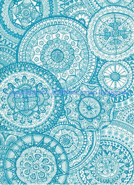 Intricate Blue Paisley Pattern 29 5 X 41cms By