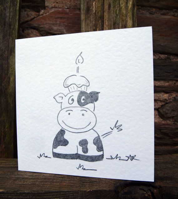 Cow Birthday Card Hand Drawn By Ilovemypencil On Etsy Drawings