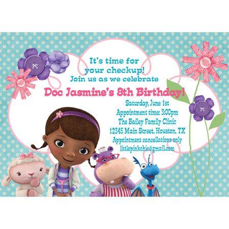 Doc mcstuffins birthday invitation ethan emma 6th birthday doc mcstuffins birthday invitation filmwisefo Images