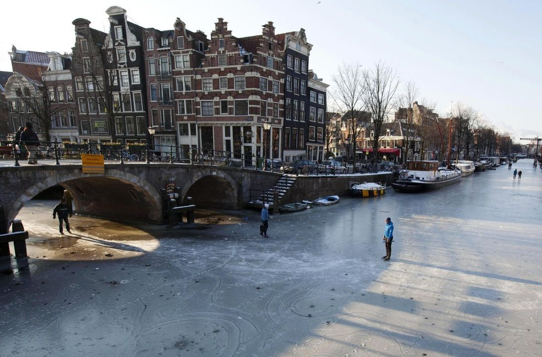 Frozen canals in Amsterdam - awesome!