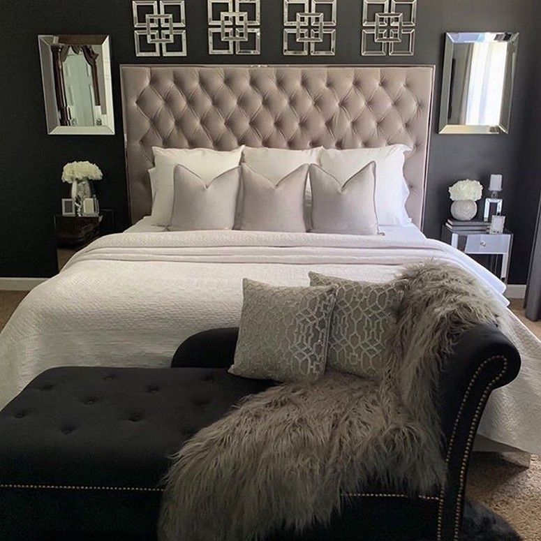 black white and gold bedroom  contemporary bedroom