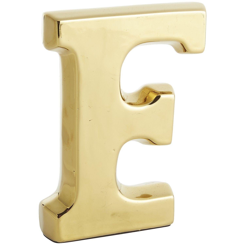 Monogram Ceramic Letter - Gold F - Earthenware | *Decor > House ...