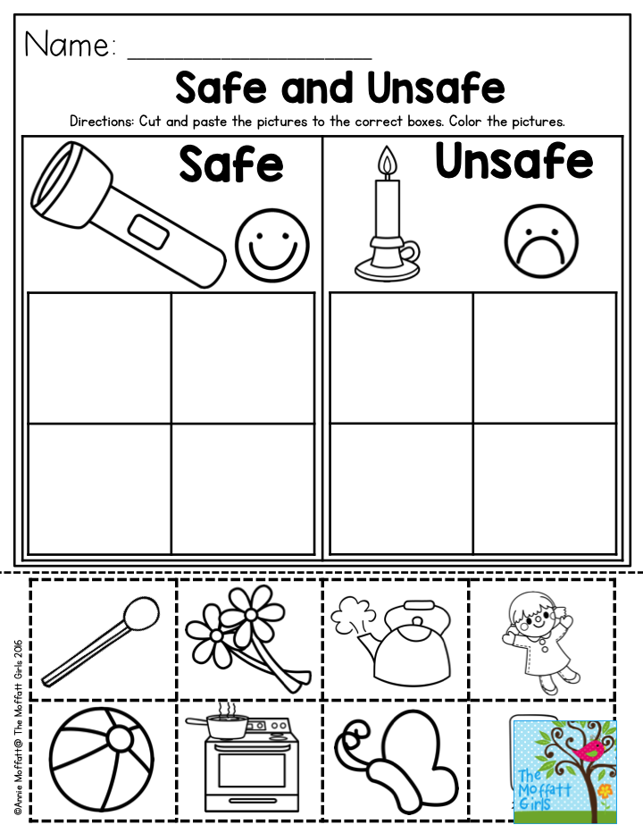 Safe And Unsafe- Great Activity To Help Teach Preschool Students About  Safety! Teaching Preschool, Fire Safety Preschool, Teaching Safety