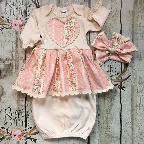 1443402560d15 Vintage style gown set, baby girl gown, Valentine's Day, coming home ...