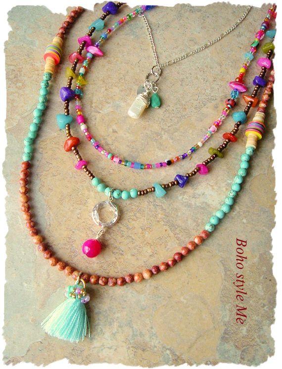 8b692e239a9e Joyas de Bohemia coloridas capas collar moderno Hippie