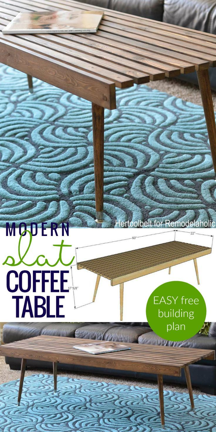 Free Building Plan, Easy Modern Slat Coffee Table Or Bench For Under $50,  No Special Tools Or Fancy Cuts @Remodelaholic
