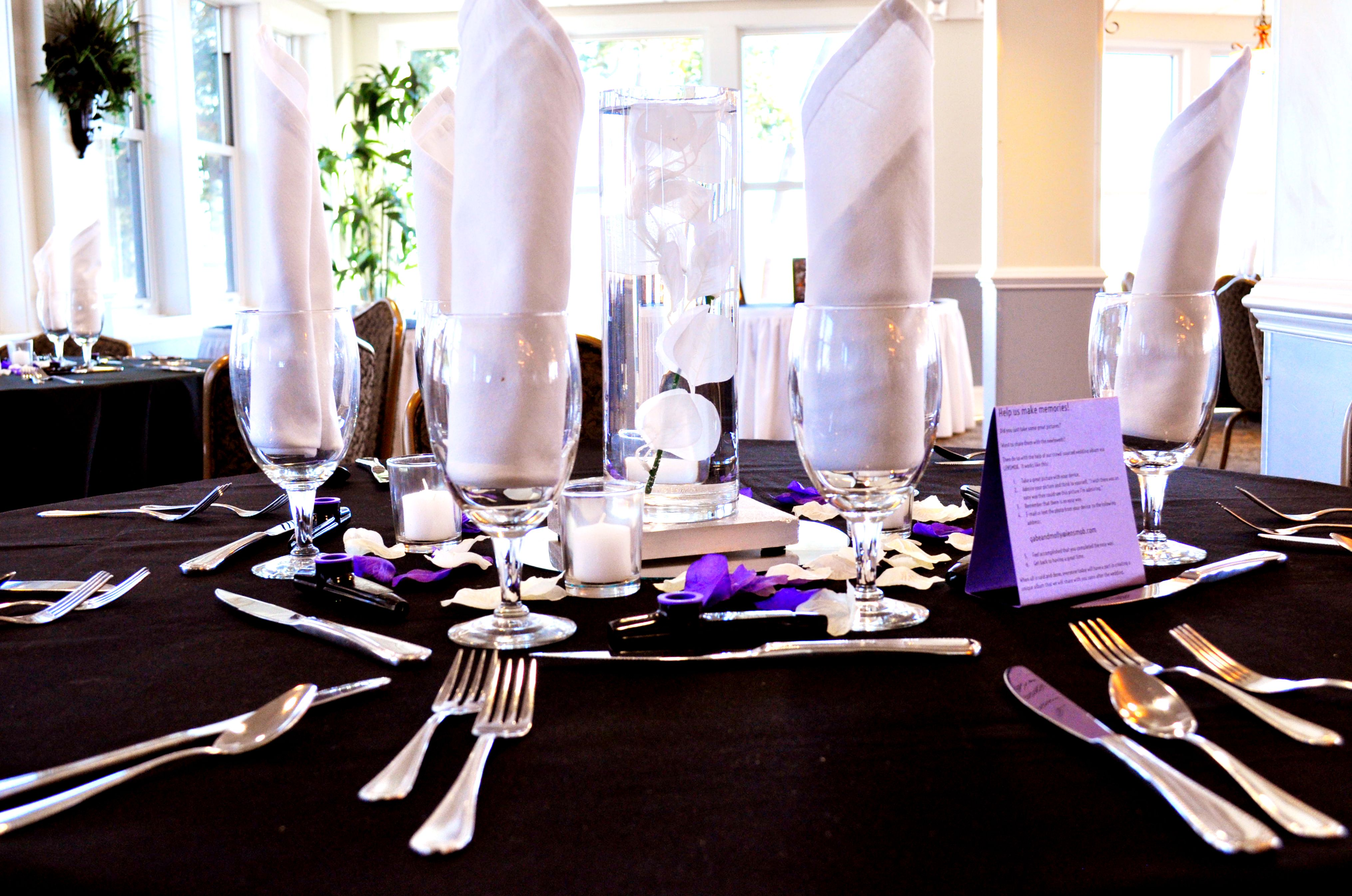 Beaufort Weddings - A black, white and purple table setting