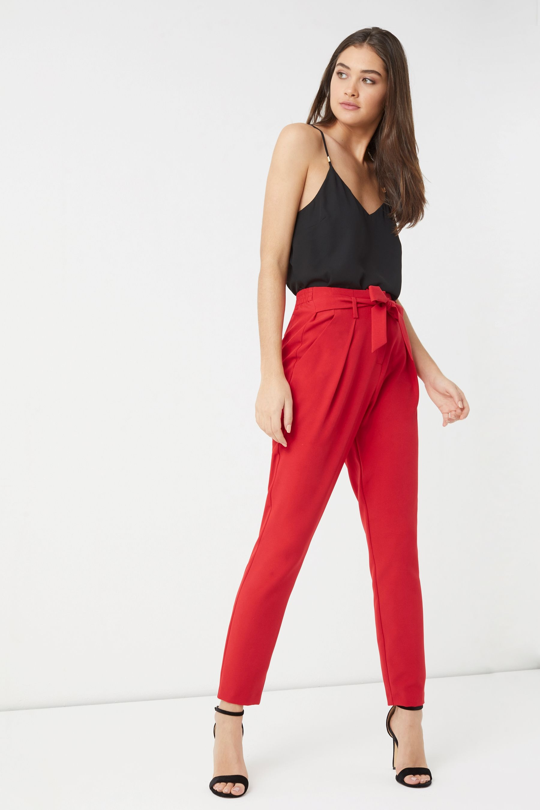 fec0bf27b151 Womens Lipsy Elasticated Back Tie Front Trouser - Red | Dream closet ...