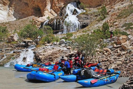 Rafting in India on the Zanskar River with Bio Bio Expeditions.  Taking a break at one of the tributaries to the Zanskar.