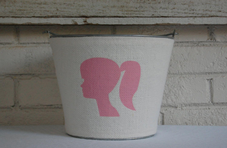 Burlap Pink & White Girl Silhouette Galvanized Bucket....CHIC....container storage for girls.Nursery decor, Tween decor, Teen decor.. $48.00, via Etsy.