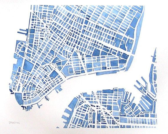 downtown new york city brooklyn city map watercolor 12x9 modern blueprint grid city landscape maps