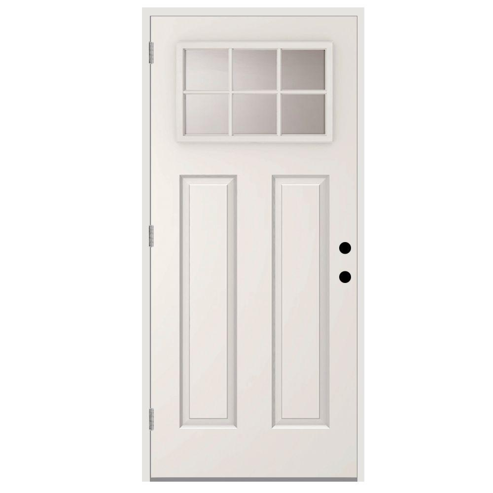 Steves Sons 36 In X 80 In 6 Lite Right Hand Outswing Primed White Steel Prehung Front Door With 4 In Wall St30 6l 30 4orh Outswing Exterior Door Craftsman Front Doors Steel Doors