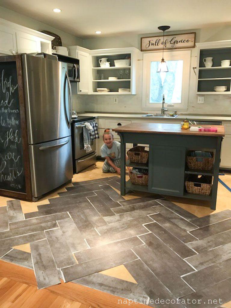 Peel And Stick Floor Tile   herringbone   Kitchen flooring options ...