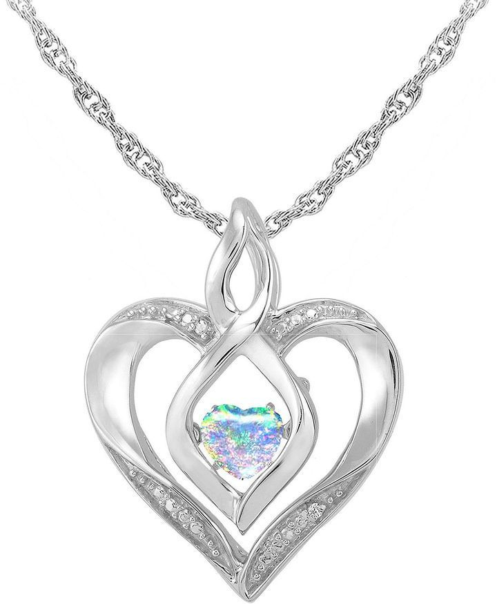 3c98a057e JCPenney FINE JEWELRY Love in Motion Lab-Created Opal and Diamond-Accent  Heart Pendant Necklace