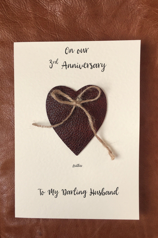 3rd Wedding Anniversary Cards Handmade Leather Anniversary
