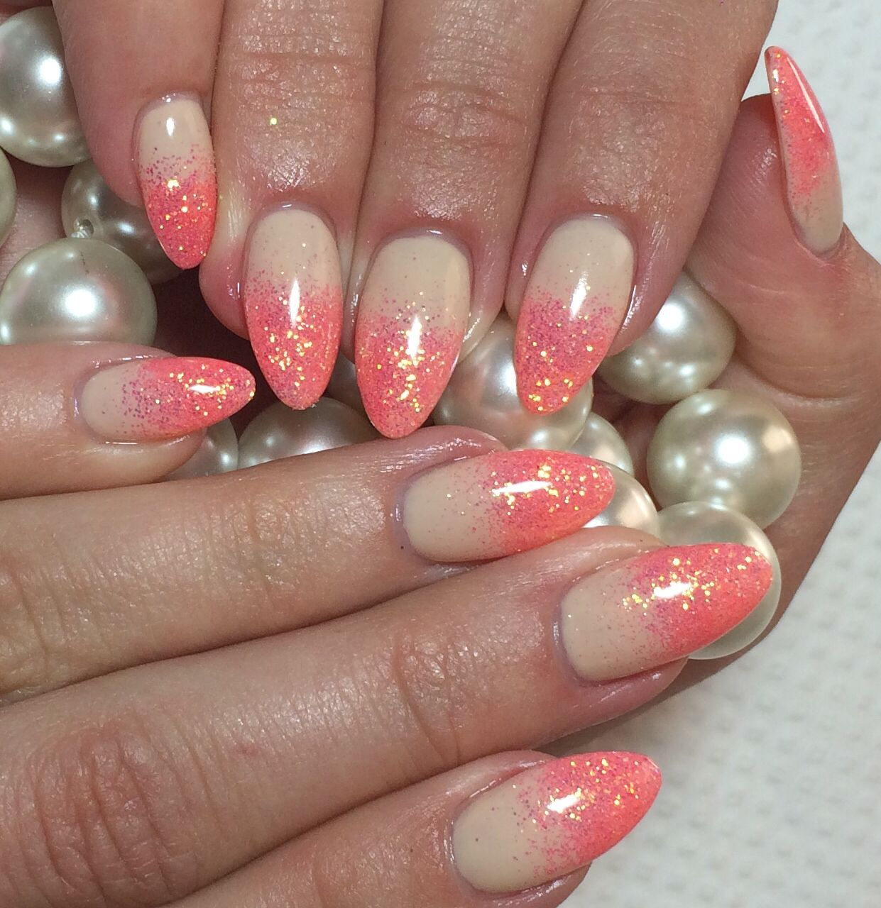 Nude Nails with Coral Ombré  Almond Nails Summer 2014 Glitter Nail Art Design #ByMargarita