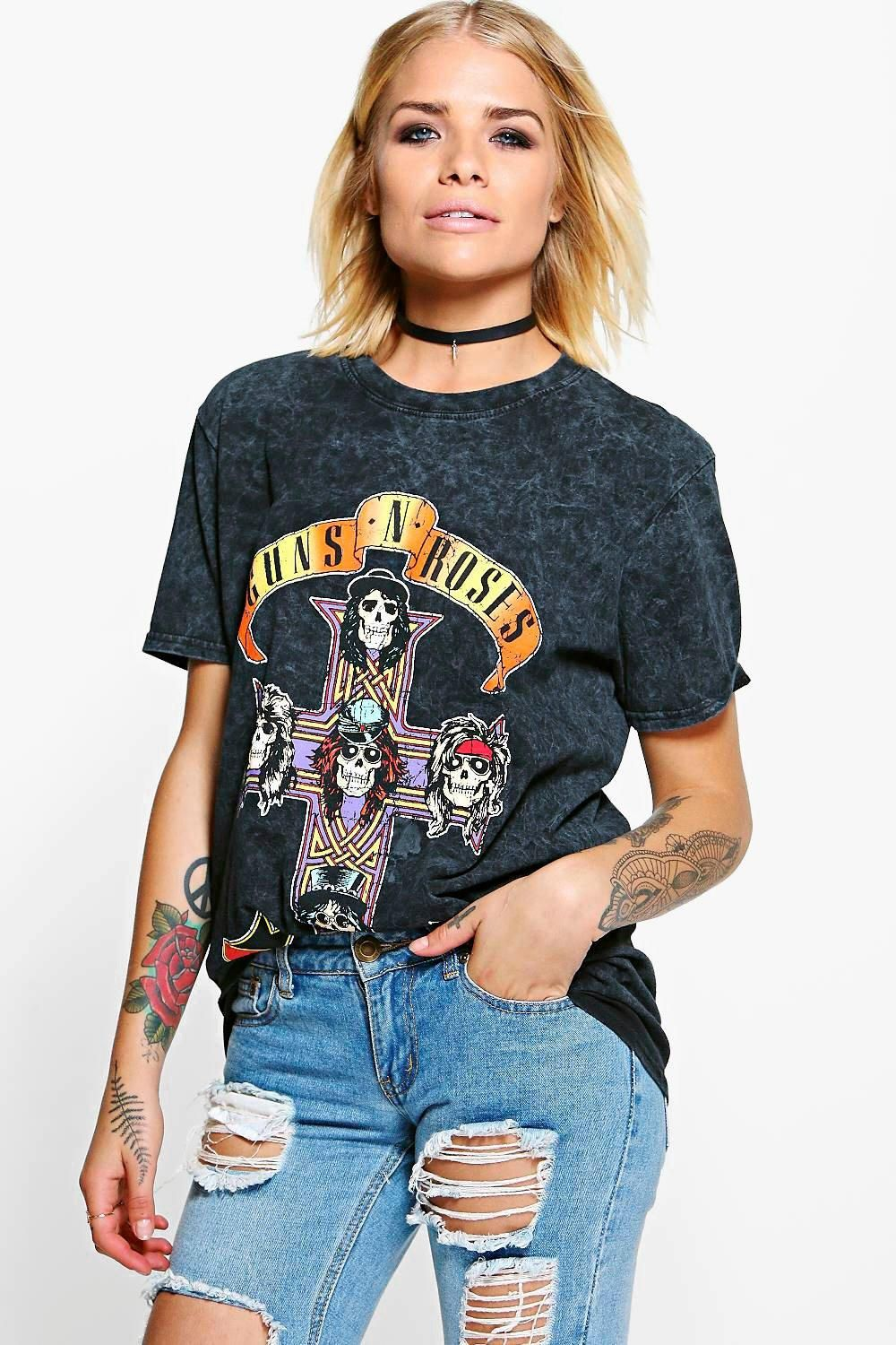 Layla Tonal Guns 'N' Roses Oversized Washed Licence Band Tee