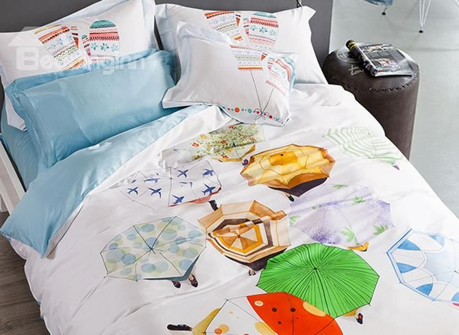 New Arrival Multicolored Umbrellas Print 4-Piece Cotton Duvet Cover Sets #bedding #bedroom