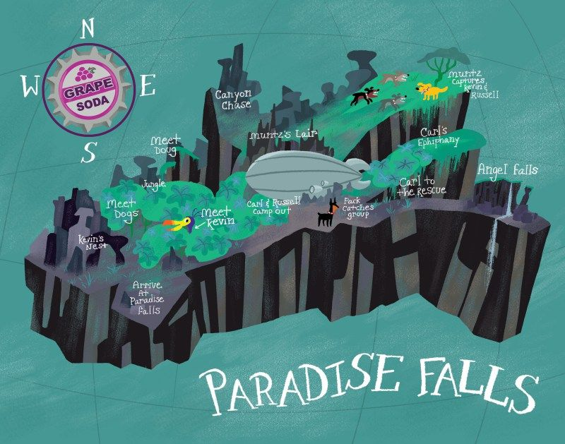 Imaginary Place Map - Paradise Falls from UP