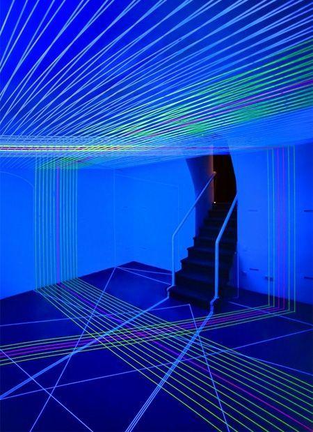 s korea - art - elaborate laser shows with UV lights, thread, neon, cords - installation