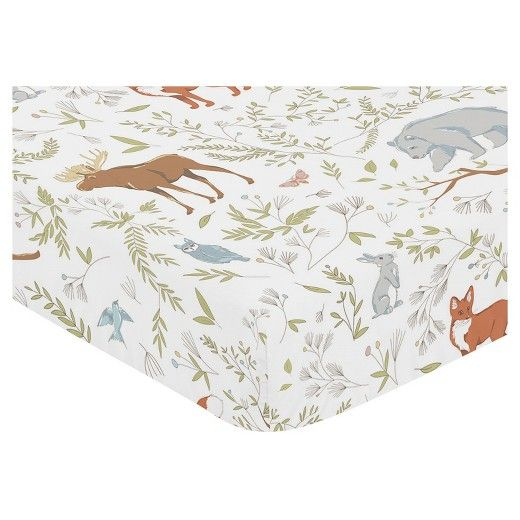 Woodland Toile fitted crib sheets will help complete the look of your Sweet Jojo Designs nursery. This multi-colored animal print 100% cotton sheet fits all standard crib and toddler mattresses and is machine washable for easy care. Dimensions: 52 in. x 28 in. x 8 in.